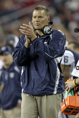 GLENDALE, AZ - JANUARY 01:  Head coach Randy Edall of the Connecticut Huskies reacts while taking on the Oklahoma Sooners during the Tostitos Fiesta Bowl at the Universtity of Phoenix Stadium on January 1, 2011 in Glendale, Arizona.  (Photo by Ronald Mart