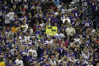 DETROIT - DECEMBER 13: Minnesota Vikings fans support their team at Ford Field during the game against the New York Giants on December 13, 2010 in Detroit, Michigan. (Photo by Leon Halip/Getty Images)
