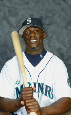 PEORIA, AZ - FEBRUARY 19:  Mike Cameron #44 of the Seattle Mariners poses for a portrait during the Mariners' spring training Media Day on February 19, 2003 at Peoria Stadium in Peoria, Arizona.   (Photo by Jeff Gross/Getty Images)
