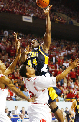 23 Mar 2002: Antonio Gates #44  of the Kent State Golden Eagles shoots over A. J. Moye #2 of the Indiana Hoosiers in the second half of the Championship of the South Region of the 2002 NCAA Men's Basketball Championship at the Rupp Arena in Lexington, Ken