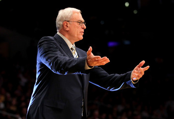 LOS ANGELES, CA - NOVEMBER 05:  Head coach Phil Jackson of the Los Angeles Lakers gestrures during the game with the Toronto Raptors at Staples Center on November 5, 2010 in Los Angeles, California.  The Lakers won 108-102.   NOTE TO USER: User expressly