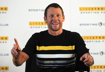 KANSAS CITY, KS - MARCH 08:  Champion cyclist, cancer survivor, and Livestrong founder Lance Armstrong addresses the media during a press conference to announce the naming rights of a new stadium to be called Livestrong Sporting Park to host Sporting Kans