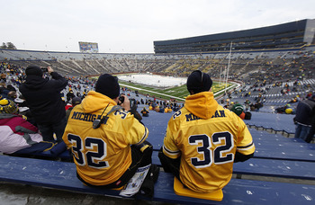 ANN ARBOR, MI - DECEMBER 11:  Michigan fans gets ready for the start of the game between the Michigan State Spartans and Michigan Wolverines at the Big Chill game at Michigan Stadium on December 11, 2010 in Ann Arbor, Michigan.  (Photo by Leon Halip/Getty