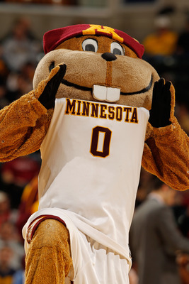 INDIANAPOLIS - MARCH 11:  Goldy Gopher, mascot of the Minnesota Golden Gophers performs during the game against the Penn State Nittany Lion in the first round of the Big Ten Men's Basketball Tournament at Conseco Fieldhouse on March 11, 2010 in Indianapol