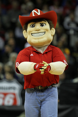KANSAS CITY, MO - MARCH 09:  Nebraska Cornhuskers mascot, Herbie Husker, performs during the first round game against the Oklahoma State Cowboys in the 2011 Phillips 66 Big 12 Men's Basketball Tournament at Sprint Center on March 9, 2011 in Kansas City, M