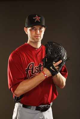 KISSIMMEE, FL - FEBRUARY 24:  J.A. Happ #30 of the Houston Astros poses for a portrait during Spring Training photo Day at Osceola County Stadium  on February 24, 2011 in Kissimmee, Florida.  (Photo by Al Bello/Getty Images)