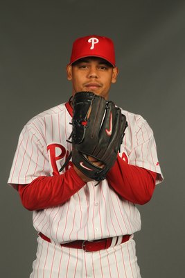 CLEARWATER, FL - FEBRUARY 24:  Sergio Escalona #53 of the Philadelphia Phillies poses for a photo during Spring Training Media Photo Day at Bright House Networks Field on February 24, 2010 in Clearwater, Florida.  (Photo by Nick Laham/Getty Images)