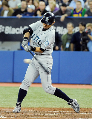 TORONTO, ON - SEPTEMBER 22: Ichiro Suzuki #51 of the Seattle Mariners takes a swing at the ball during their game against the Toronto Blue Jays on September 22, 2010 at the Rogers Centre in Toronto, Canada.  (Photo by Matthew Manor/Getty Images)
