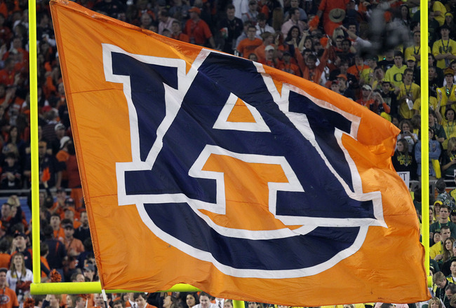 GLENDALE, AZ - JANUARY 10:  An Auburn Tigers flag is displayed at their Tostitos BCS National Championship Game against the Oregon Ducks at University of Phoenix Stadium on January 10, 2011 in Glendale, Arizona.  (Photo by Ronald Martinez/Getty Images)