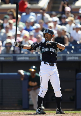 PEORIA, AZ - MARCH 12:  Ichiro Suzuki #51 of the Seattle Mariners bats against the Oakland Athletics during the spring training game at Peoria Stadium on March 12, 2011 in Peoria, Arizona.  (Photo by Christian Petersen/Getty Images)