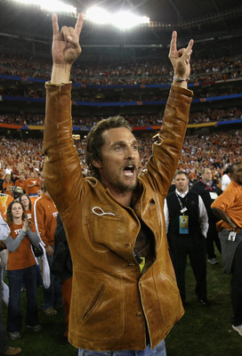 GLENDALE, AZ - JANUARY 05:  Actor Matthew McConaughey celebrates after the Texas Longhorns defeated the Ohio State Buckeyes in Tostitos Fiesta Bowl Game on January 5, 2009 at University of Phoenix Stadium in Glendale, Arizona.  (Photo by Jed Jacobsohn/Get