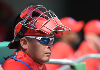 CLEARWATER, FL - FEBRUARY 24:  Catcher Carlos Ruiz #51 of the Philadelphia Phillies starts against the Florida State Seminoles February 24, 2011 at Bright House Field in Clearwater, Florida.  (Photo by Al Messerschmidt/Getty Images)