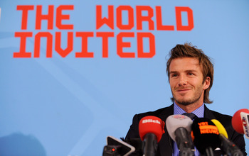ZURICH, SWITZERLAND - DECEMBER 01:  David Beckham speaks to the media during an England press conference ahead of the FIFA World Cup 2018 host countries annoucement at the Swissotel on December 1, 2010 in Zurich, Switzerland.  (Photo by Michael Regan/Gett