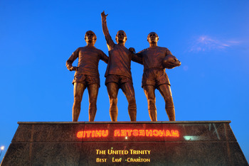 MANCHESTER, UNITED KINGDOM - MARCH 02:  A statue of George Best, Denis Law and Bobby Charlton standing outside Old Trafford, home of Manchester United on March 2, 2011 in Manchester, England.  (Photo by Mike Hewitt/Getty Images)