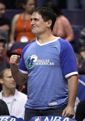 PHOENIX, AZ - MARCH 27:  Owner Mark Cuban of the Dallas Mavericks reacts during the NBA game against the Phoenix Suns at US Airways Center on March 27, 2011 in Phoenix, Arizona. The Mavericks defeated the Suns 91-83. NOTE TO USER: User expressly acknowled