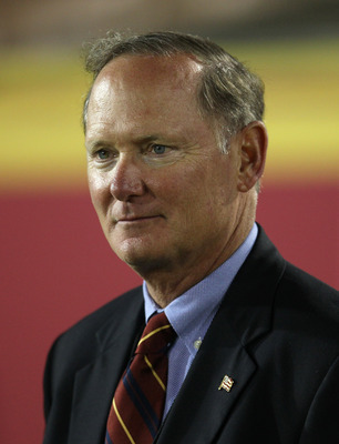 LOS ANGELES, CA - SEPTEMBER 11:  USC Trojans athletic director Pat Haden looks on during the game with the Virginia Cavaliers at Los Angeles Memorial Coliseum on September 11, 2010 in Los Angeles, California. USC won 17-14.  (Photo by Stephen Dunn/Getty I