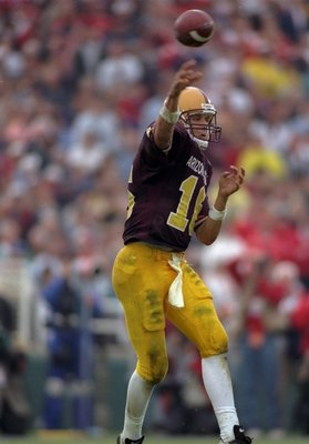 1 Jan 1997:  Quarterback Jake Plummer of the Arizona State Sun Devils passes the ball during the Rose Bowl against the Ohio State Buckeyes at the Rose Bowl in Pasadena, California.  Ohio State won the game, 20-17.  Mandatory Credit: Jed Jacobsohn  /Allspo