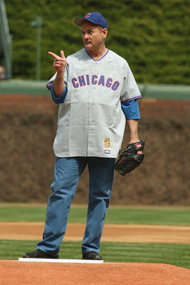 CHICAGO - APRIL 12:  Actor Bill Murray stands on the mound as he prepares to throw the ceremonial first pitch prior to the Chicago Cubs home opener against the Pittsburgh Pirates on April 12, 2004 at Wrigley Field in Chicago, Illinois. The Pirates defeate