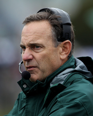 EVANSTON, IL - OCTOBER 23: Head coach Mark Dantonio of the Michigan State Spartans returned to the sidelines for a game against the Northwestern Wildcats at Ryan Field on October 23, 2010 in Evanston, Illinois. (Photo by Jonathan Daniel/Getty Images)