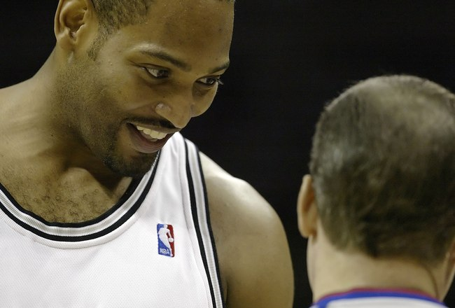 SAN ANTONIO - MAY 20:  Robert Horry #5 of the San Antonio Spurs looks down at referee Ron Garretson #10 against the Utah Jazz in Game One of the Western Conference Finals during the 2007 NBA Playoffs at AT&T Center on May 20, 2007 in San Antonio, Texas. N