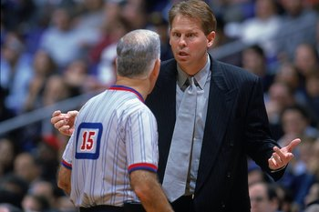 30 Nov 1999:  Coach Danny Ainge of the Phoenix Suns talks with the referee during the game against the Los Angeles Clippers at the Staples Center in Los Angeles, California. The Suns defeated the Clippers 94-80.    Mandatory Credit: Harry How  /Allsport