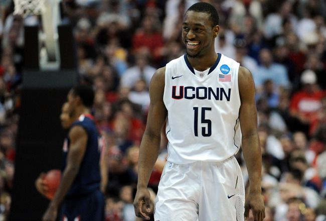 ANAHEIM, CA - MARCH 26:  Kemba Walker #15 of the Connecticut Huskies reacts after a play against the Arizona Wildcats during the west regional final of the 2011 NCAA men's basketball tournament at the Honda Center on March 26, 2011 in Anaheim, California.