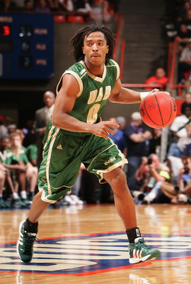 BOISE, ID - MARCH 17:  Carldell Johnson #0 of the University of Alabama at Birmingham Blazers handles the ball during the 2005 NCAA division 1 men's basketball championship tournament game against  the Louisiana State University Tigers at Taco Bell Arena