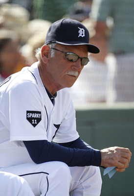LAKELAND, FL - MARCH 02: Detroit Tigers manager Jim Leyland #10 watches the action during the game against the Houston Astros at Joker Marchant Stadium on March 2, 2011 in Lakeland, Florida. The Astros defeated the Tigers 6-3.  (Photo by Leon Halip/Getty