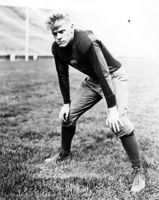 Former President Gerald Ford played center for the University of Michigan Wolverines. This photo was shot in 1934. (Photo by Michigan University/Getty Images)