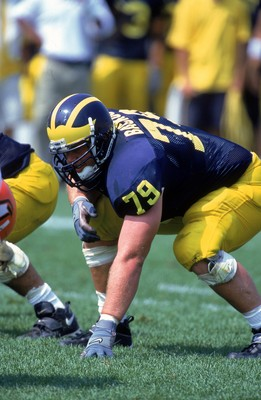 2 Sep 2000:  Jeff Backus #79 of the Michigan Wolverines is ready on the field during the game against the Bowling Green Falcons at the Michigan Stadium in Ann Arbor, Michigan. The Wolverines defeated the Falcons 42-7.Mandatory Credit: Jonathan Daniel  /Al