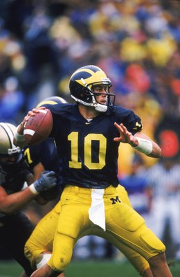 2 Oct 1999:  Tom Brady #10 of the Mishigan Wolverines gets ready to pass the ball during the game against the Purdue Boilermakers at the Michigan Stadium in Ann Arbor, Mishigan. The Wolverrines defeated the Boilermakers 38-12. Mandatory Credit: Harry How