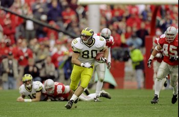 21 Nov 1998:  Tight end Jerame Tuman #80 of the Michigan Wolverines in action during the game against the Ohio State Buckeyes at the Ohio Stadium in Columbus, Ohio. The Buckeyes defeated the Wolverines 31-16. Mandatory Credit: Rick Stewart  /Allsport