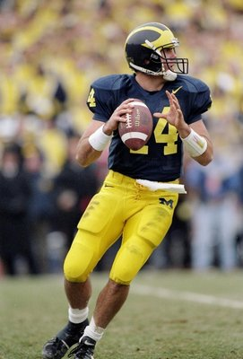 22 Nov 1997:  Quarterback Brian Griese of the Michigan Wolverines prepares to pass the ball during a game against the Ohio State Buckeyes at Michigan Stadium in Ann Arbor, Michigan.  Michigan won the game 20-14. Mandatory Credit: Jonathan Daniel  /Allspor