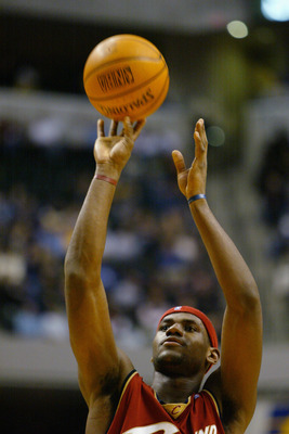 INDIANAPOLIS - DECEMBER 15:  LeBron James #23 of the Cleveland Cavaliers shoots a free throw during the game against the Indiana Pacers at Conseco Fieldhouse on December 15, 2003 in Indianapolis, Indiana.  The Pacers won 95-85.  NOTE TO USER: User express