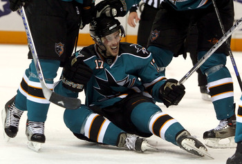 SAN JOSE, CA - APRIL 10:  Torrey Mitchell #17 of the San Jose Sharks celebrates on the ice after scoring a second-period power-play goal against the Calgary Flames during game Two of the 2008 NHL conference quarter-final series at HP Pavilion on April 10,