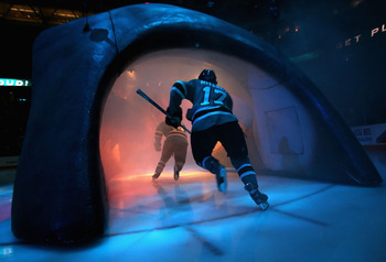 SAN JOSE, CA - APRIL 10:  Torrey Mitchell #17 of the San Jose Sharks skates out onto the ice before game Two of the 2008 NHL conference quarter-final series against the Calgary Flames at HP Pavilion on April 10, 2008 in San Jose, California. The Sharks de