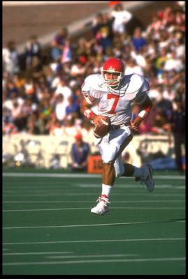 21 Sep 1991: UNIVERSITY OF HOUSTON QUARTERBACK DAVID KLINGLER ROLES OUT TO PASS DURING THEIR 51-10 LOSS TO ILLINOIS AT MEMORIAL STADIUM IN CHAMPAIGN, ILLINOIS.