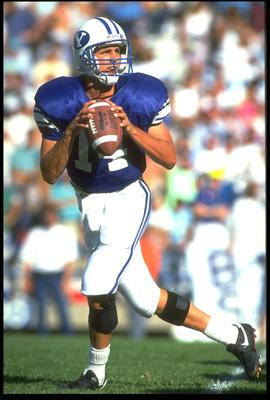 22 Sep 1990: BYU QUARTERBACK TY DETMER DROPS BACK TO PASS DURING THE COURGARS 62-34 WIN OVER THE SAN DIEGO STATE AZTECS