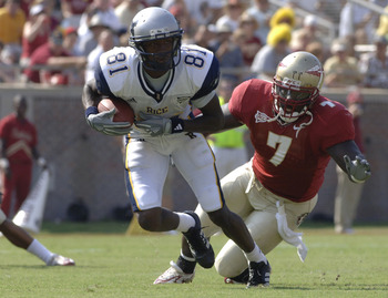 Rice  wide receiver Jarett Dillard rushes upfield with a catch against Florida State  Rice September 23, 2006 at Doak Campbell Stadium in Tallahassee, Florida. (Photo by A. Messerschmidt/Getty Images) *** Local Caption ***