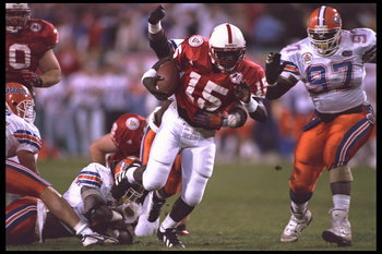 2 Jan 1996:  Quarterback Tommie Frazier #15 of the Nebraska Cornhuskers attempts a quarterback keeper against the Florida Gators in the Fiesta Bowl in Sun Devil Stadium in Tempe, Arizona. Nebraska defeated Florida 62-24.  Mandatory Credit:  Mike Powell/Al