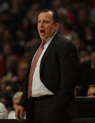 CHICAGO, IL - MARCH 25: Head coach Tom Thibodeau of the Chicago Bulls gives instructions to his team during a game against the Memphis Girzzlies at the United Center on March 25, 2011 in Chicago, Illinois. The Bulls defeated the Grizzlies 99-96. NOTE TO U