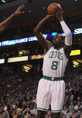 BOSTON, MA - MARCH 02:  Jeff Green #8 of the Boston Celtics takes a shot in the first half against the Phoenix Suns on March 2, 2011 at the TD Garden in Boston, Massachusetts.  NOTE TO USER: User expressly acknowledges and agrees that, by downloading and/