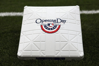 KANSAS CITY, MO - MARCH 31:  A base displays an Opening Day logo prior to the start of the opening day game between the Los Angeles Angels of Anaheim and the Kansas City Royals at Kauffman Stadium on March 31, 2011 in Kansas City, Missouri.  (Photo by Jam