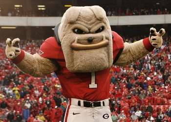ATHENS, GA - NOVEMBER 29:  Georgia Bulldogs mascot Hairy Dawg poses before the game against the Georgia Tech Yellow Jackets at Sanford Stadium on November 29, 2008 in Athens, Georgia.  The Yellow Jackets defeated the Bulldogs 45-42.  (Photo by Mike Zarril