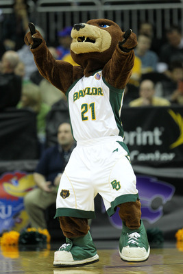 KANSAS CITY, MO - MARCH 09:  Baylor Bears mascot Bruiser performs during their game against the Oklahoma Sooners in the first round of the 2011 Phillips 66 Big 12 Men's Basketball Tournament at Sprint Center on March 9, 2011 in Kansas City, Missouri.  (Ph