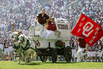 NORMAN, OK - OCTOBER 2:  The Oklahoma Sooners Boomer Schooner rolls around the field after a touchdown against the Texas Tech Red Raiders in the fourth quarter on October 2, 2004 at Memorial Stadium in Norman, Oklahoma. Oklahoma won 28-13.  (Photo by Bria