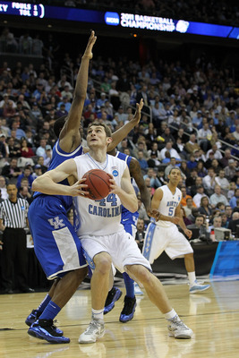NEWARK, NJ - MARCH 27:  Tyler Zeller #44 of the North Carolina Tar Heels in action against Terrence Jones #3 of the Kentucky Wildcats during the east regional final of the 2011 NCAA men's basketball tournament at Prudential Center on March 27, 2011 in New