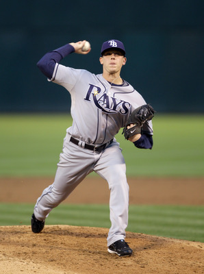 OAKLAND, CA - AUGUST 20:  Jeremy Hellickson #58 of the Tampa Bay Rays bats against the Oakland Athletics at the Oakland-Alameda County Coliseum  on August 20, 2010 in Oakland, California.  (Photo by Ezra Shaw/Getty Images)