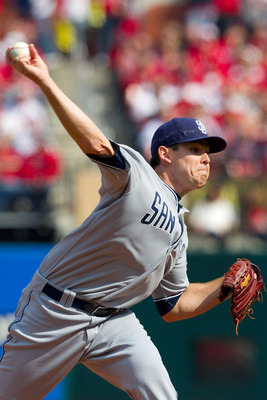 ST. LOUIS, MO - MARCH 31: Starter Tim Stauffer #46 of the San Diego Padres pitches against the St. Louis Cardinals on opening day at Busch Stadium on March 31, 2011 in St. Louis, Missouri.  (Photo by Dilip Vishwanat/Getty Images)