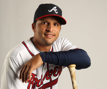 LAKE BUENA VISTA, FL - FEBRUARY 21: Martin Prado #14 of the Atlanta Braves during Photo Day at  Champion Stadium at ESPN Wide World of Sports of Complex on February 21, 2011 in Lake Buena Vista, Florida. (Photo by Mike Ehrmann/Getty Images)